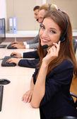 Wywołanie centrum operatorów w pracy — Zdjęcie stockowe