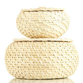 Two wicker baskets with covers, isolated on white — Stock Photo