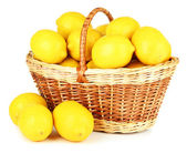 Ripe lemons in wicker basket isolated on white — Stock Photo