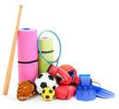 Sport equipment isolated on white — Stock fotografie