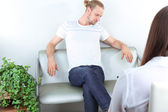Man with problem on reception for psychologist — Stock Photo