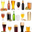 Stock Photo: Lots of beer in different containers isolated on white