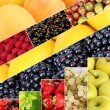 Collage of fruits and berries close-up background — Stock Photo #30532663