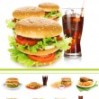 Collage of fast food — ストック写真