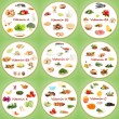 Collage of various food products containing vitamins — Foto de Stock