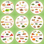 koláž různých potravinových výrobků obsahujících vitaminy — Stock fotografie