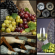 Collage of old wine bottles and grapes — Stock Photo