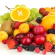 Fresh fruits and berries isolated on white — Stock Photo