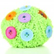 Colorful buttons and wool ball, isolated on white — Stock Photo