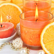 Stock Photo: Romantic lighted candles close up