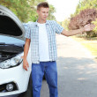 Man on road with car breakdown trying to stop car — Stock Photo #30567911