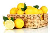 Limões maduros isolados no branco — Fotografia Stock
