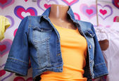Clothes on mannequin in shop, close up — Stock Photo