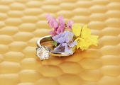 Wedding ring on bright background — Stock Photo