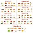 Collage of various food products containing vitamins — ストック写真