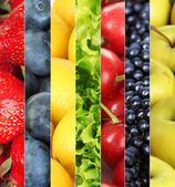 Collage of fruits and berries close-up background — Stock Photo