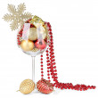 Wine glass filled with christmas decorations, isolated on white — Stock Photo #30612369