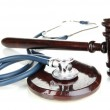 Medicine law concept. Gavel and stethoscope isolated on white — Stock Photo