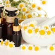 Essential oil and chamomile flowers in mortar close up — Stock Photo