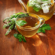 Cup and teapot of herbal tea with fresh mint flowers on wooden table — Stock Photo #30617213