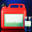Stock Photo: Bio fuels in canister and vial on blue background
