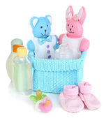 Baby accessories isolated on white — Stock Photo