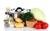 Ingrédients pour la cuisine bortsch isolé sur blanc — Photo