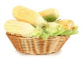 Taze mısır sebze sepeti üzerine beyaz izole — Stok fotoğraf