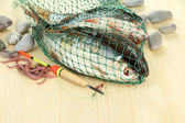 Fishes in fishing net on wooden background — Stock Photo