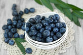 Blueberries in plates on napkin on wooden background — Stock Photo