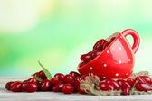 Taze cornel meyveleri kırmızı kupası ahşap tablo — Stok fotoğraf