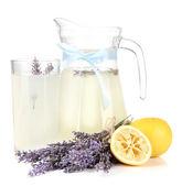 Lavender lemonade, isolated on white — Stock Photo