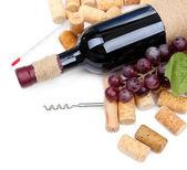 şişe şarap, üzüm ve mantarlar, üzerinde beyaz izole — Stok fotoğraf