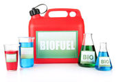Bio fuels in canister and vials isolated on white — Stock Photo