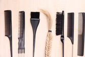 Black combs on table close-up — Stock Photo