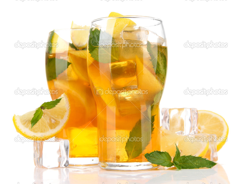 Download - Iced tea with lemon and mint isolated on white — Stock ...