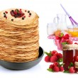 Ingredients for cooking pancakes with berries — Stock Photo