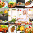 Stock Photo: Collage on culinary theme consisting of delicious dishes and cooks