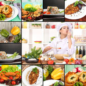 Collage on culinary theme consisting of delicious dishes and cooks — Stock Photo