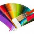 Stock Photo: Brushes, paint-roller, colour guide isolated on white