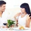 Beautiful couple having  romantic dinner at restaurant — ストック写真