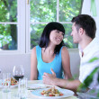 Beautiful young couple at restaurant — Stock Photo #30673295