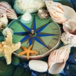 Clock on sebottom with shells and stones — Stock Photo #30674467