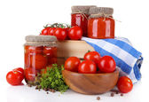 Tasty canned and fresh tomatoes, isolated on white — Stock Photo