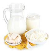 Fresh dairy products isolated on white — Stock Photo