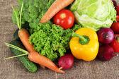 Fresh vegetables on burlap background — Stock Photo