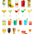 Lot of different cocktails and drinks isolated on white — Stock Photo #30772777