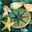 Clock on sea bottom with shells and stones — Stock Photo