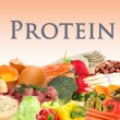 Collage of products containing protein — Stock Photo #30868469