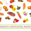 Collage of products containing protein — Stock Photo #30868695